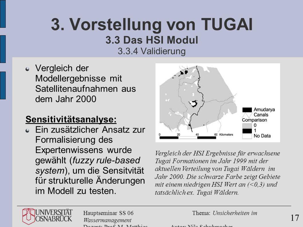 3. Vorstellung von TUGAI 3.3 Das HSI Modul 3.3.4 Validierung