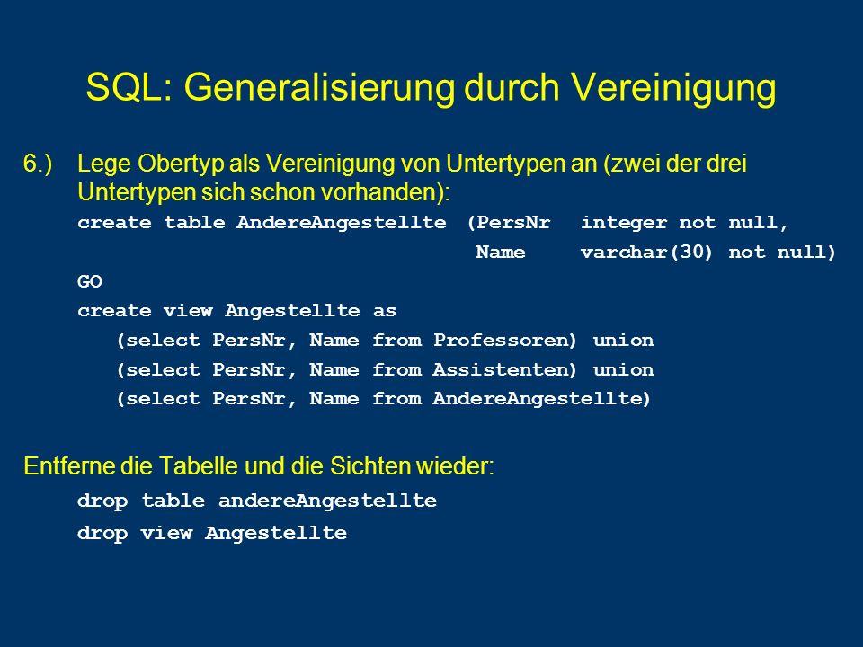 SQL: Generalisierung durch Vereinigung