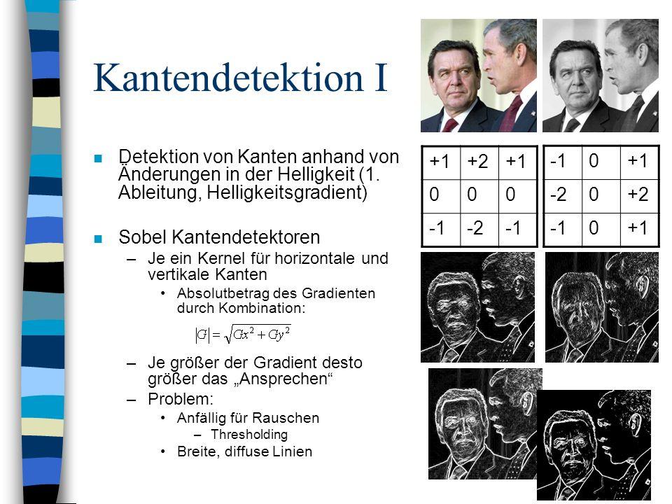 Kantendetektion I Detektion von Kanten anhand von Änderungen in der Helligkeit (1. Ableitung, Helligkeitsgradient)