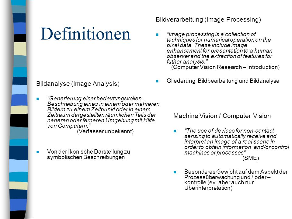 Definitionen Bildverarbeitung (Image Processing)