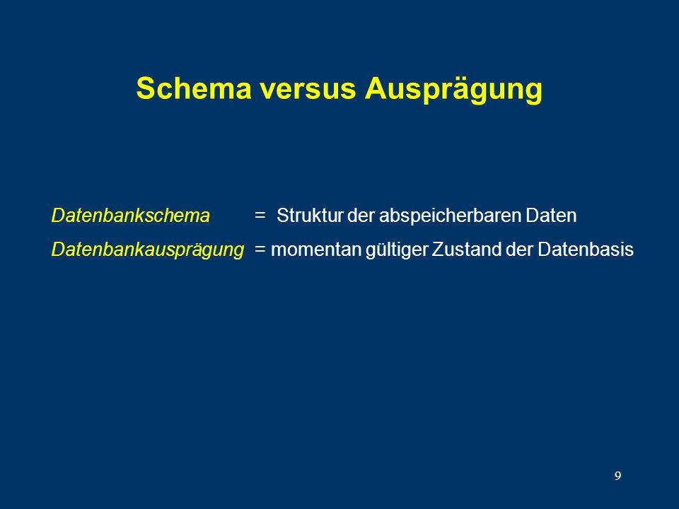 Schema versus Ausprägung