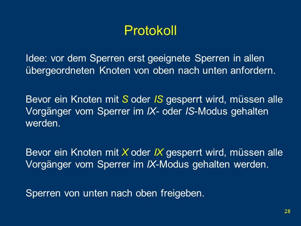 Protokoll Idee: vor dem Sperren erst geeignete Sperren in allen übergeordneten Knoten von oben nach unten anfordern.