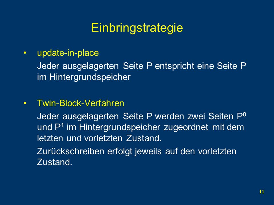 Einbringstrategie update-in-place