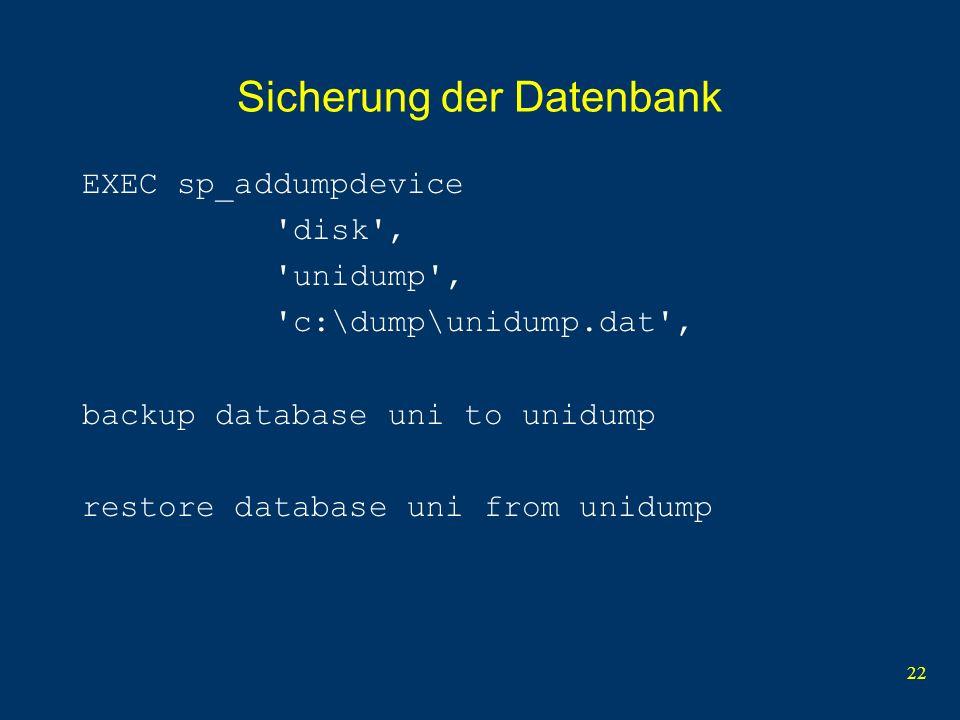Sicherung der Datenbank
