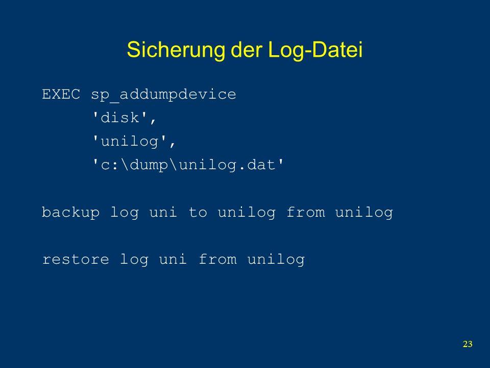 Sicherung der Log-Datei