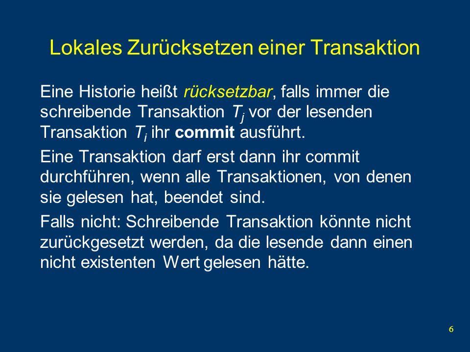 Lokales Zurücksetzen einer Transaktion