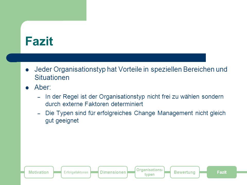Fazit Jeder Organisationstyp hat Vorteile in speziellen Bereichen und Situationen. Aber:
