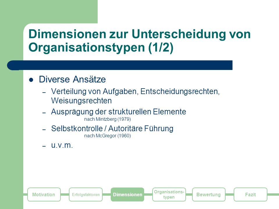 Dimensionen zur Unterscheidung von Organisationstypen (1/2)