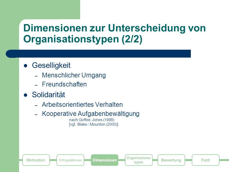 Dimensionen zur Unterscheidung von Organisationstypen (2/2)