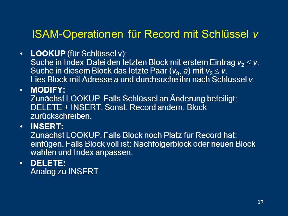 ISAM-Operationen für Record mit Schlüssel v