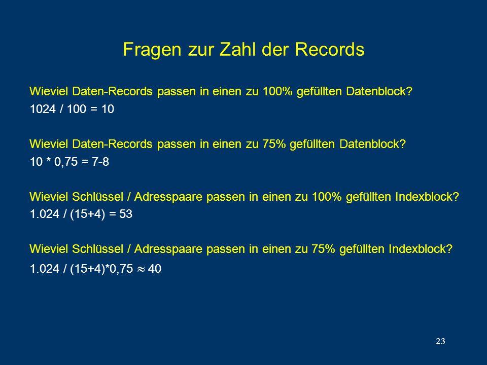 Fragen zur Zahl der Records
