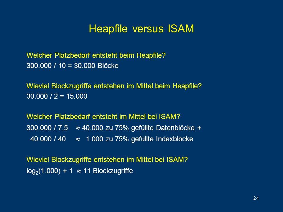 Heapfile versus ISAM Welcher Platzbedarf entsteht beim Heapfile