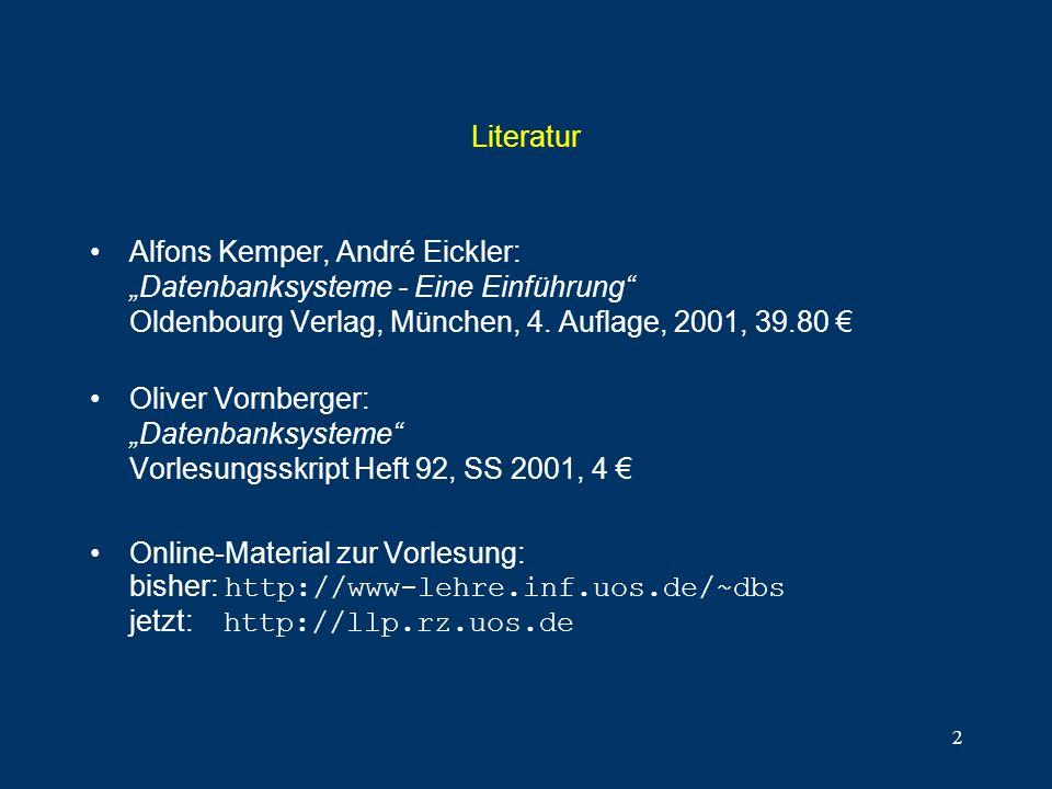 """Literatur Alfons Kemper, André Eickler: """"Datenbanksysteme - Eine Einführung Oldenbourg Verlag, München, 4. Auflage, 2001, 39.80 €"""