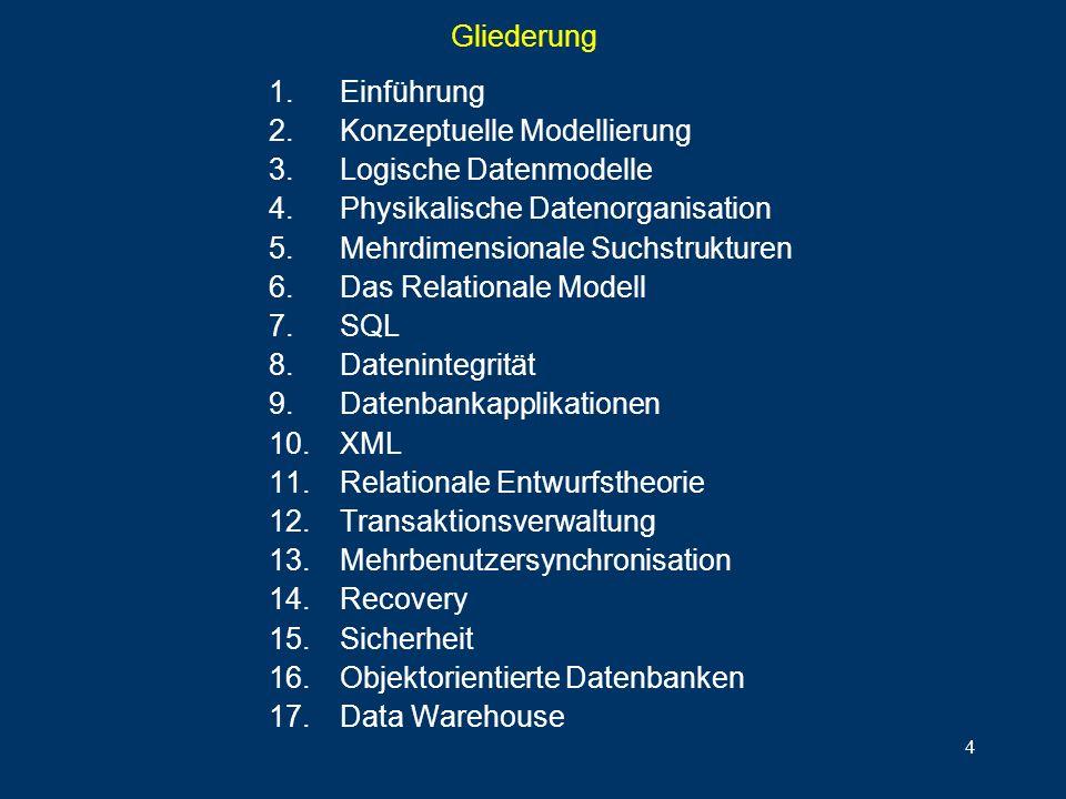 Gliederung Einführung. Konzeptuelle Modellierung. Logische Datenmodelle. Physikalische Datenorganisation.