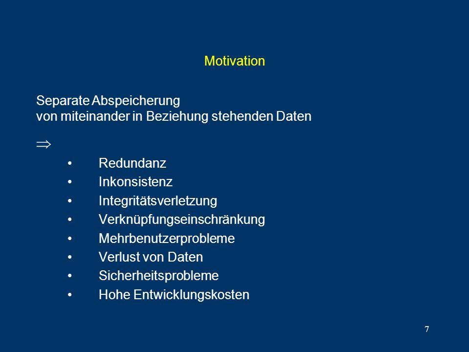 MotivationSeparate Abspeicherung von miteinander in Beziehung stehenden Daten.  Redundanz. Inkonsistenz.