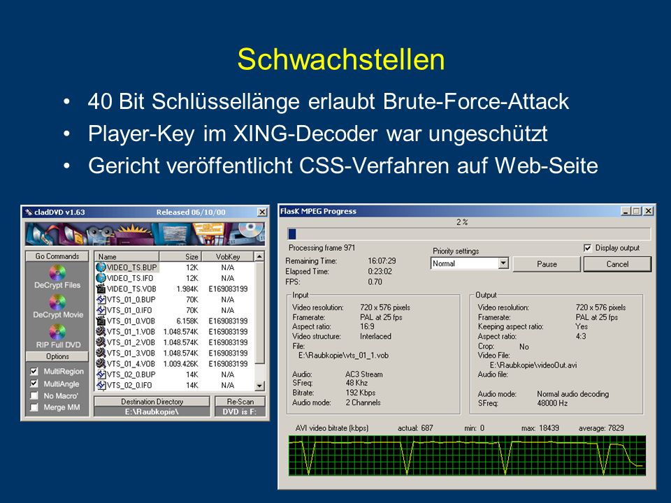 Schwachstellen 40 Bit Schlüssellänge erlaubt Brute-Force-Attack