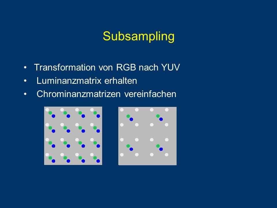Subsampling Transformation von RGB nach YUV Luminanzmatrix erhalten
