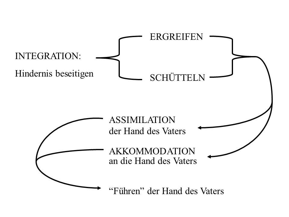 ERGREIFEN INTEGRATION: Hindernis beseitigen. SCHÜTTELN. ASSIMILATION. der Hand des Vaters. AKKOMMODATION.