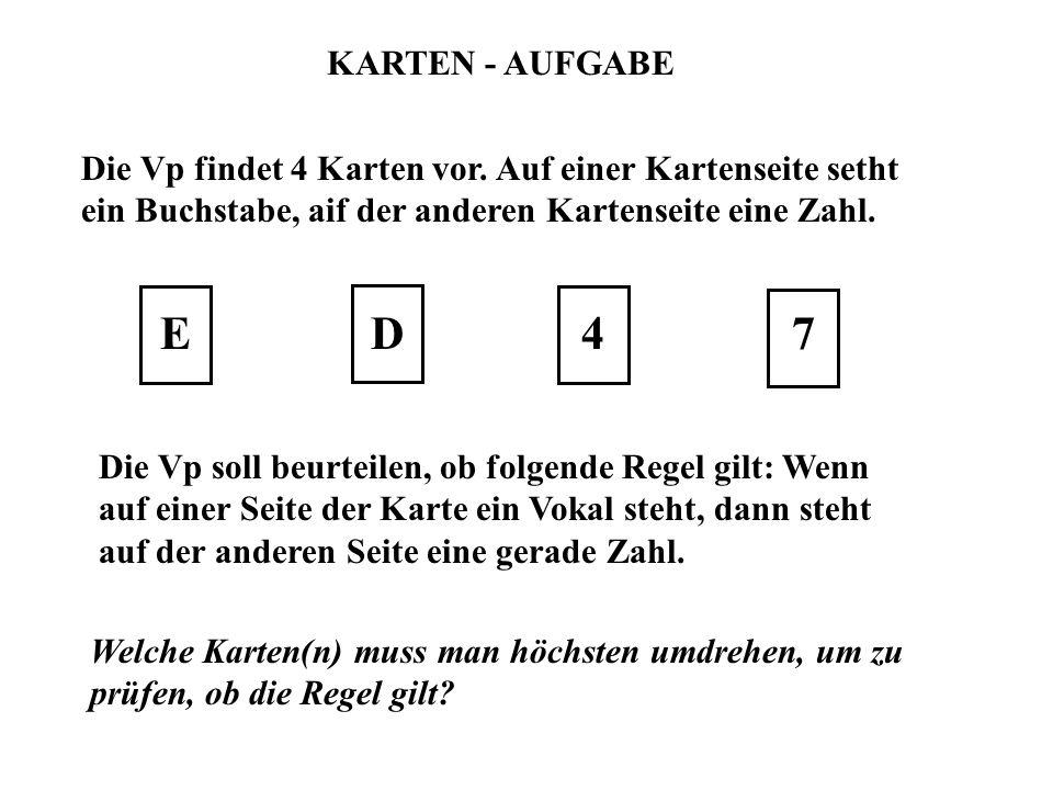 KARTEN - AUFGABE Die Vp findet 4 Karten vor. Auf einer Kartenseite setht ein Buchstabe, aif der anderen Kartenseite eine Zahl.