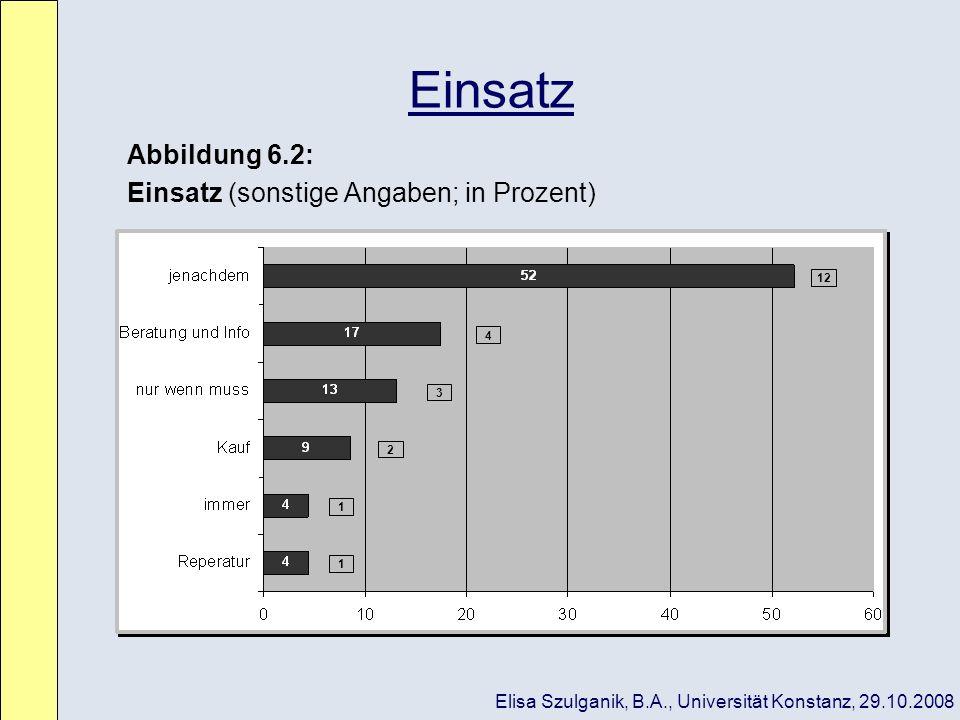 Einsatz Abbildung 6.2: Einsatz (sonstige Angaben; in Prozent)