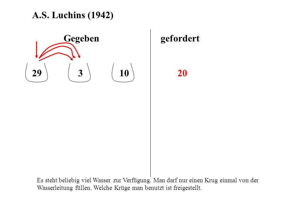 A.S. Luchins (1942) Gegeben gefordert 29 3 10 20