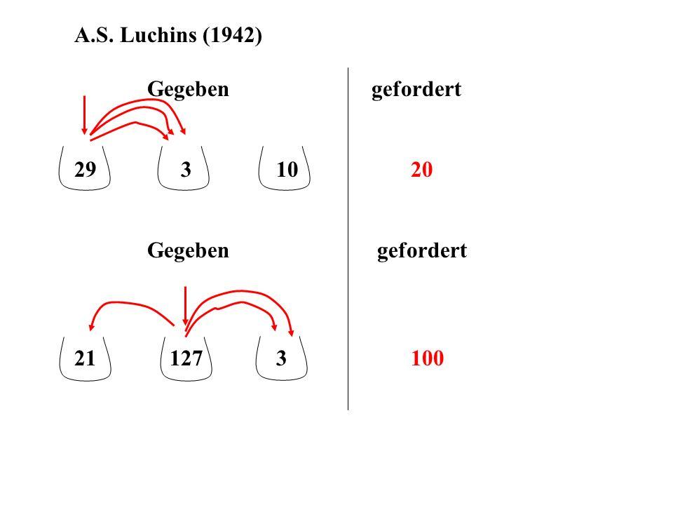 A.S. Luchins (1942) Gegeben gefordert. 29 3 10 20.