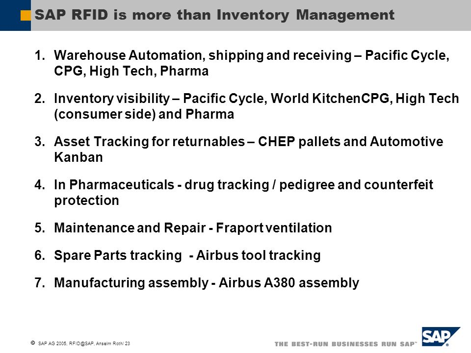 SAP RFID is more than Inventory Management