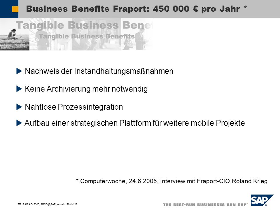 Business Benefits Fraport: 450 000 € pro Jahr *