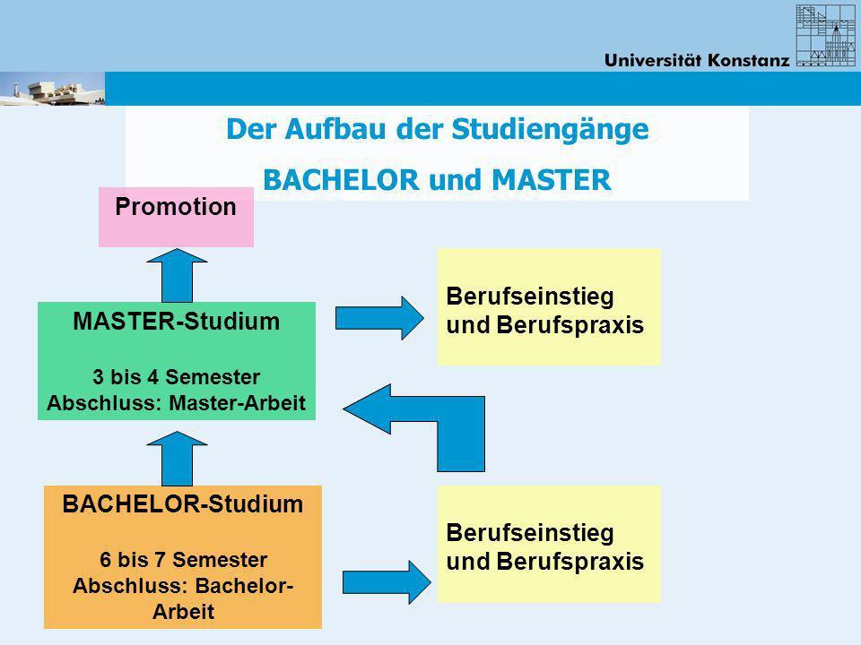 Der Aufbau der Studiengänge BACHELOR und MASTER