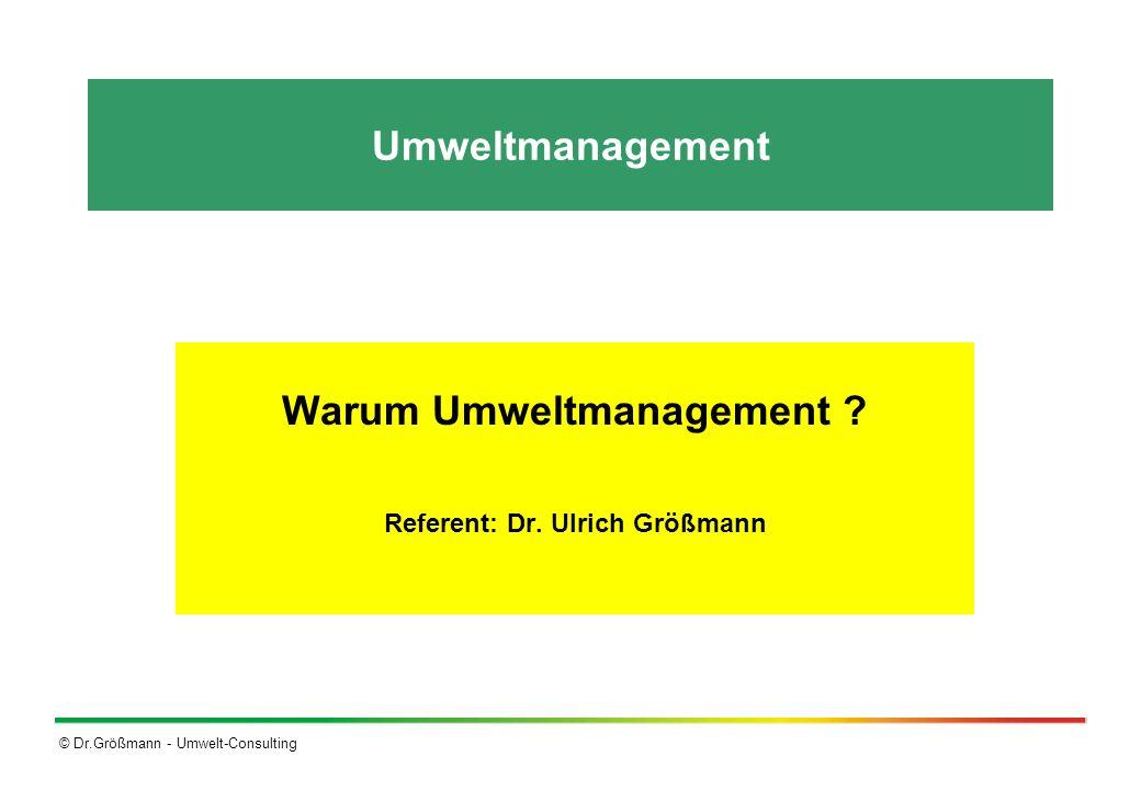 Warum Umweltmanagement Referent: Dr. Ulrich Größmann