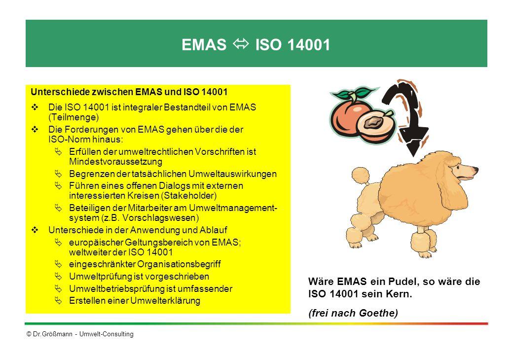 EMAS  ISO 14001 Wäre EMAS ein Pudel, so wäre die ISO 14001 sein Kern.