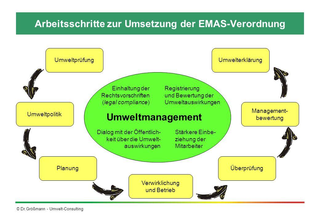 Arbeitsschritte zur Umsetzung der EMAS-Verordnung