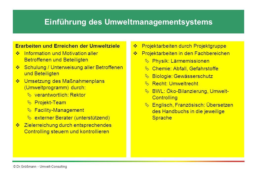 Einführung des Umweltmanagementsystems