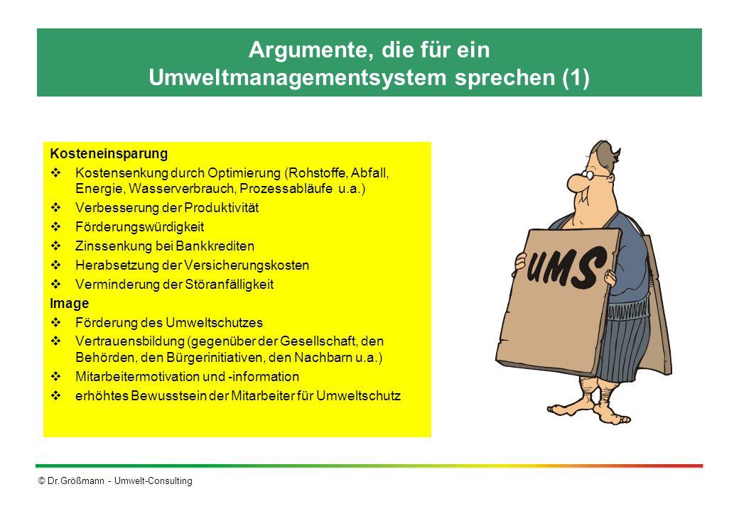 Argumente, die für ein Umweltmanagementsystem sprechen (1)