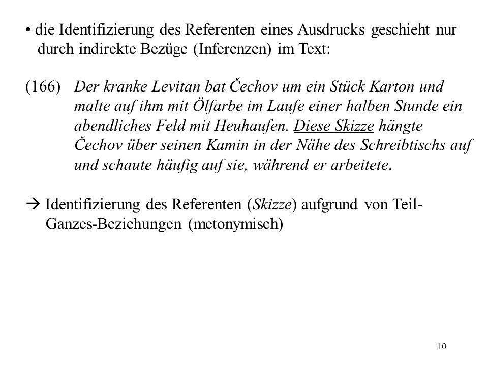 die Identifizierung des Referenten eines Ausdrucks geschieht nur durch indirekte Bezüge (Inferenzen) im Text: