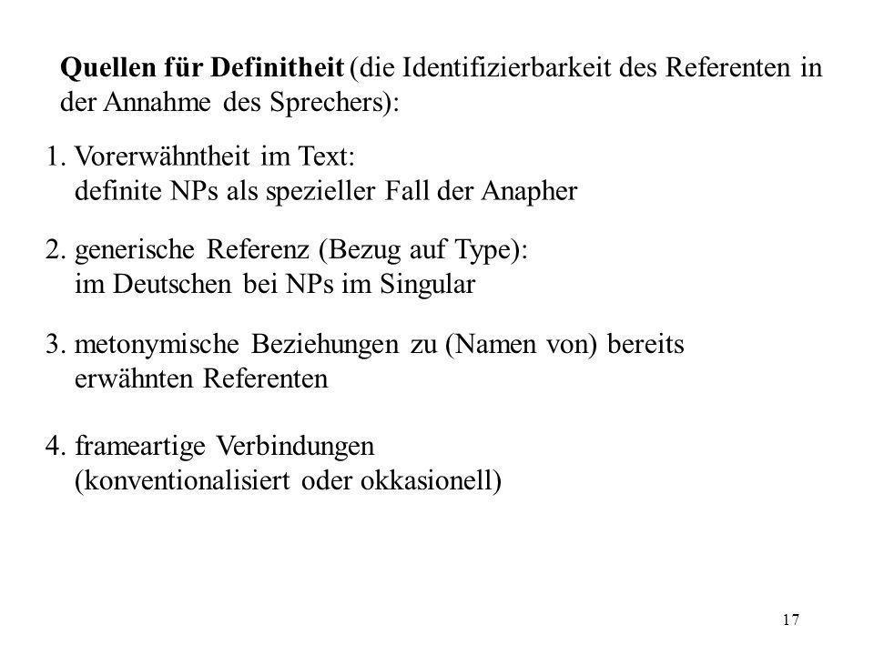 Quellen für Definitheit (die Identifizierbarkeit des Referenten in der Annahme des Sprechers):