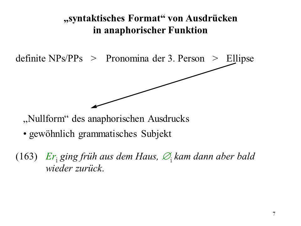 """""""syntaktisches Format von Ausdrücken in anaphorischer Funktion"""