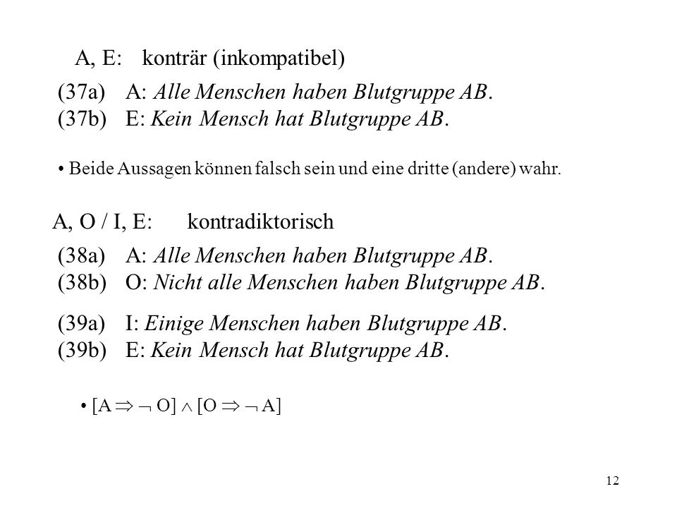 A, E: konträr (inkompatibel)