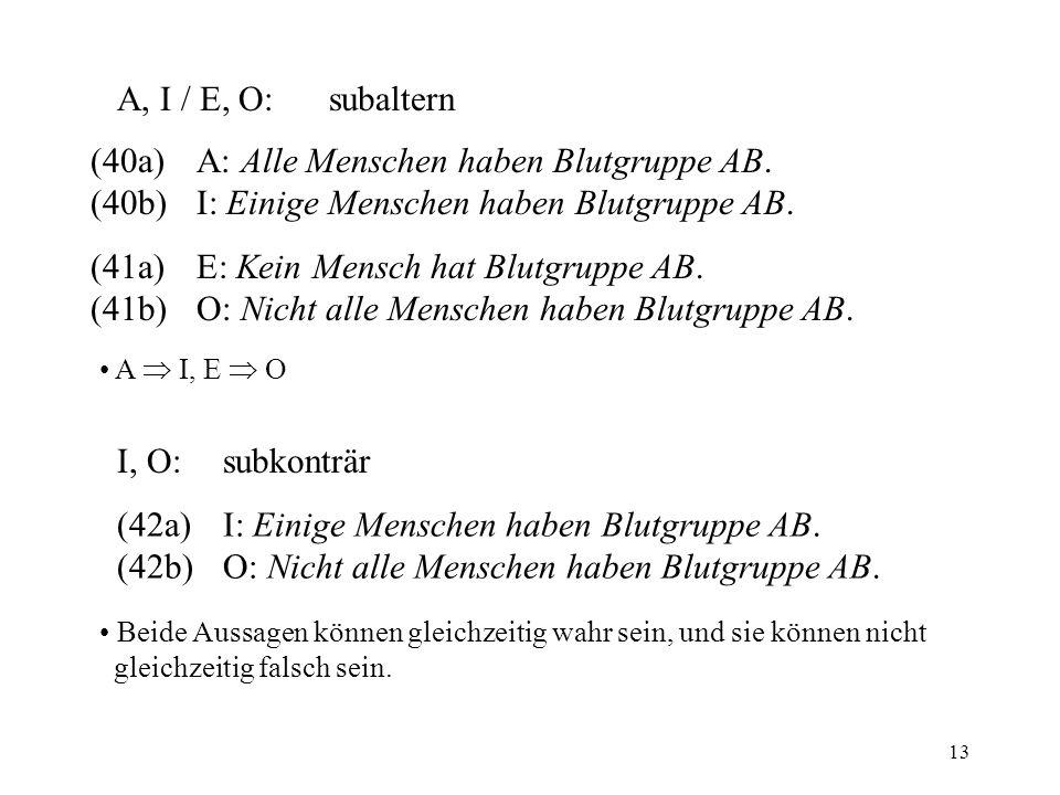 (40a) A: Alle Menschen haben Blutgruppe AB.