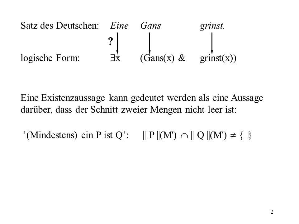 Satz des Deutschen: Eine Gans grinst.