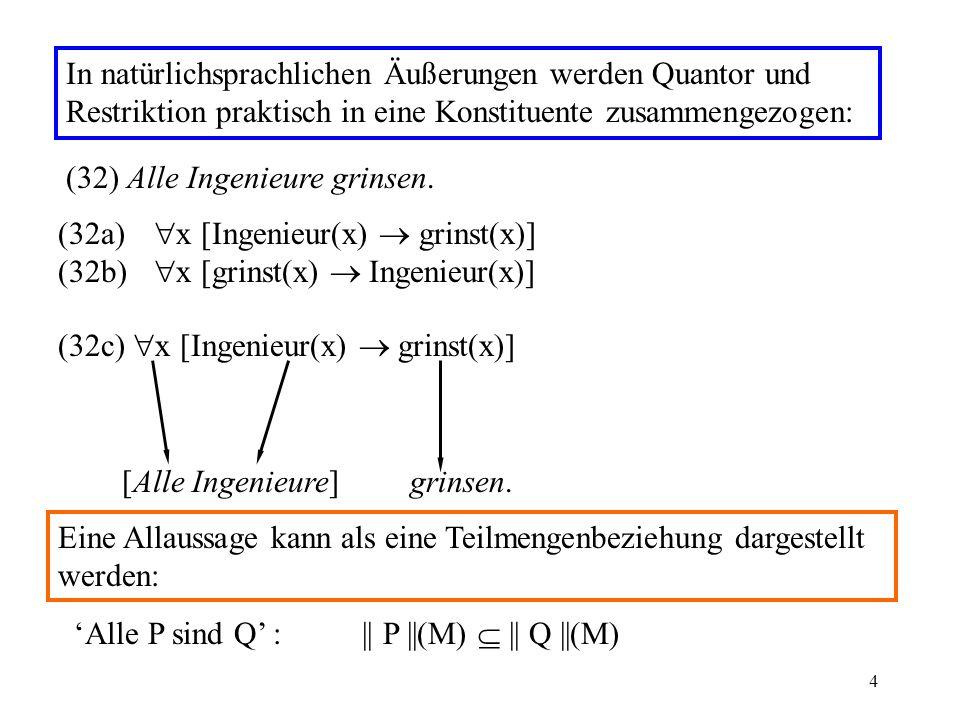 In natürlichsprachlichen Äußerungen werden Quantor und Restriktion praktisch in eine Konstituente zusammengezogen: