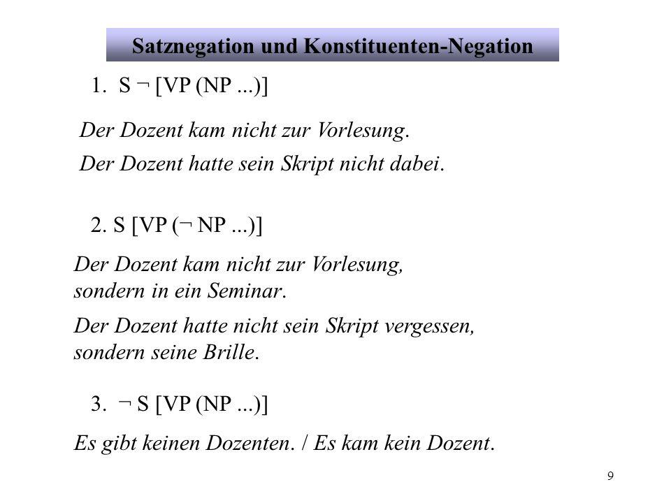 Satznegation und Konstituenten-Negation
