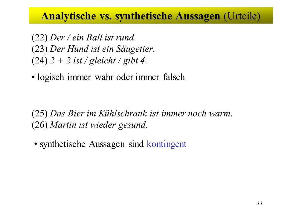 Analytische vs. synthetische Aussagen (Urteile)