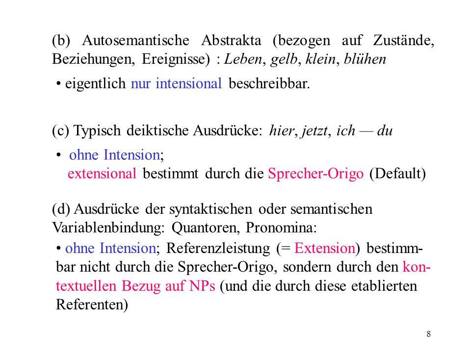 (b) Autosemantische Abstrakta (bezogen auf Zustände, Beziehungen, Ereignisse) : Leben, gelb, klein, blühen