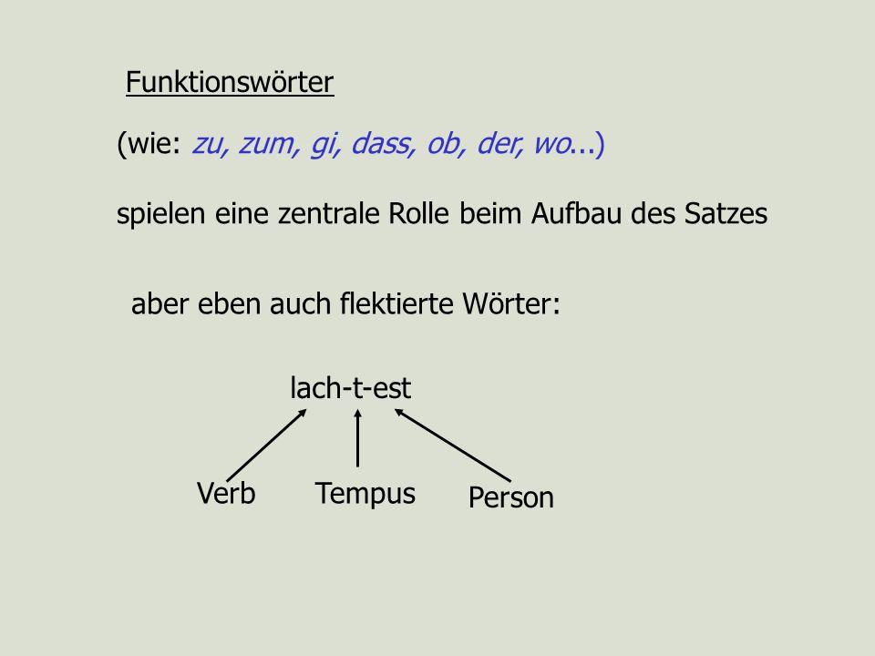 Funktionswörter(wie: zu, zum, gi, dass, ob, der, wo...) spielen eine zentrale Rolle beim Aufbau des Satzes.