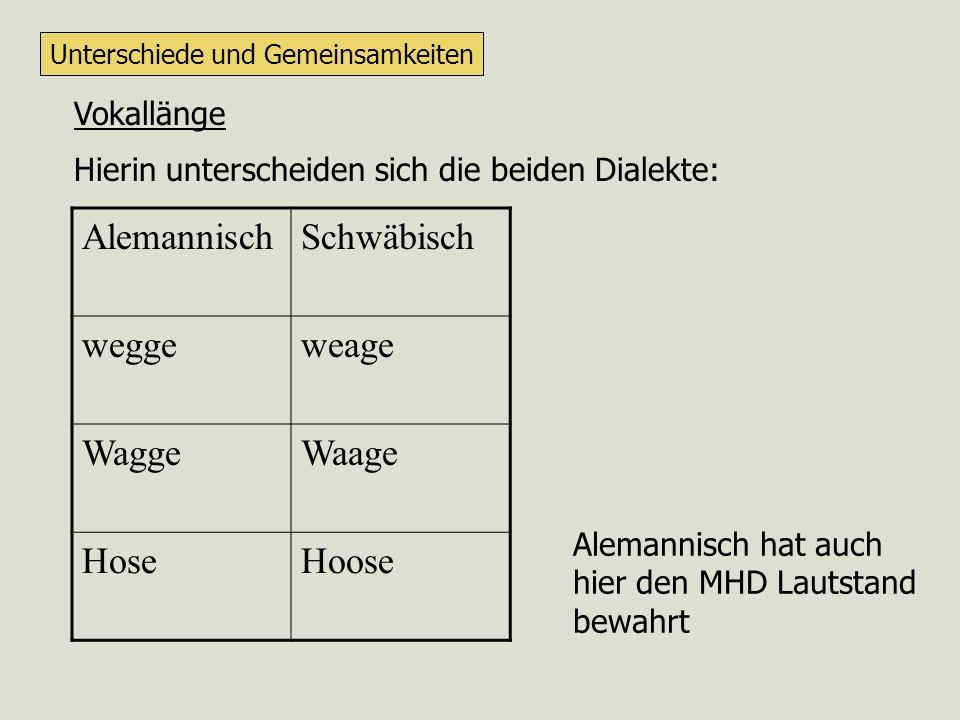 Alemannisch Schwäbisch wegge weage Wagge Waage Hose Hoose Vokallänge