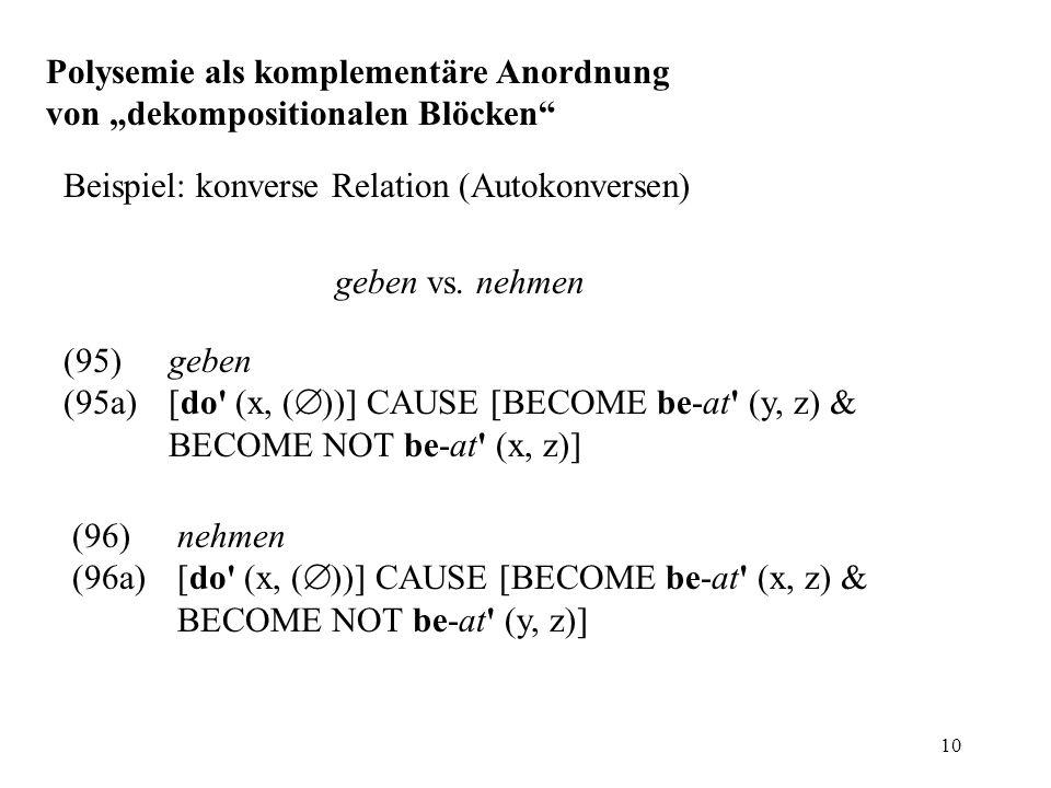 """Polysemie als komplementäre Anordnung von """"dekompositionalen Blöcken"""