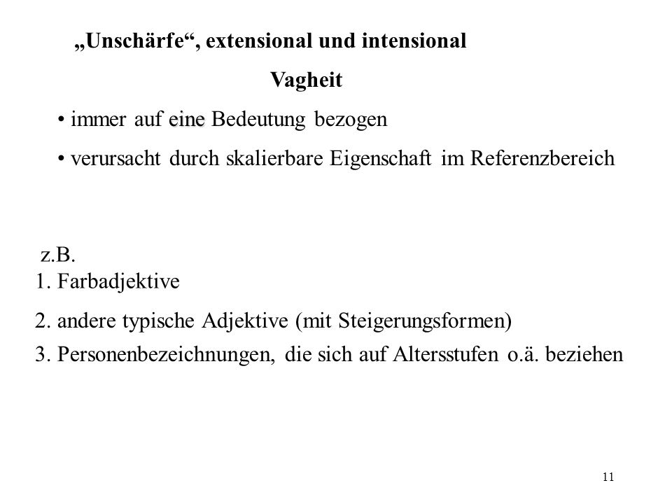 """Unschärfe , extensional und intensional"