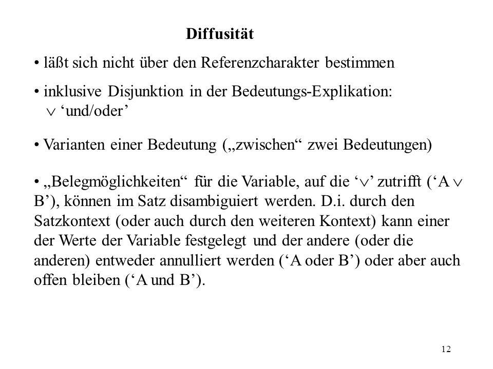 Diffusität läßt sich nicht über den Referenzcharakter bestimmen. inklusive Disjunktion in der Bedeutungs-Explikation:  'und/oder'