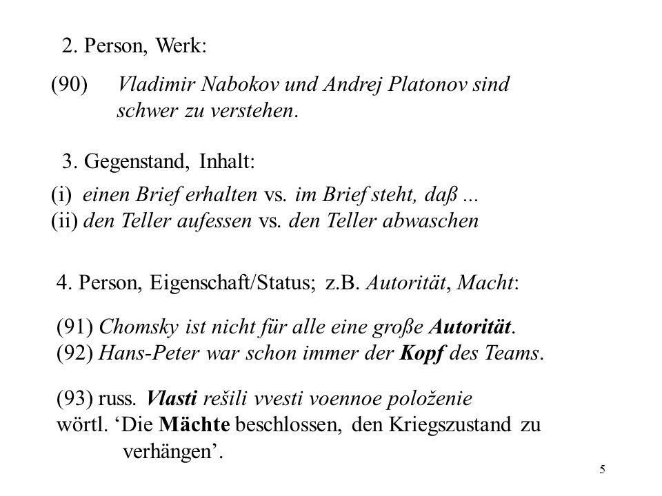 2. Person, Werk: (90) Vladimir Nabokov und Andrej Platonov sind schwer zu verstehen. 3. Gegenstand, Inhalt: